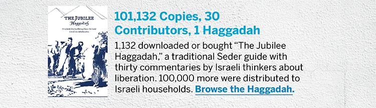 "101,132 Copies, 30 Contributors, 1 Haggadah - 1,132 downloaded or bought ""The Jubilee Haggadah,"" a traditional Seder guide with thirty commentaries by Israeli thinkers about liberation. 100,000 more were distributed to Israeli households. Browse the Haggadah."