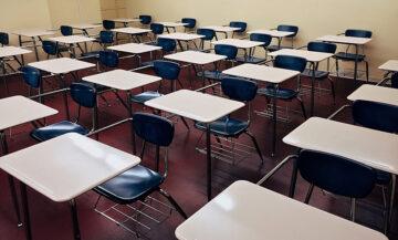 classroom of desks